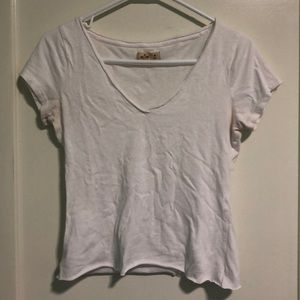 White hollister top cut to be cropped
